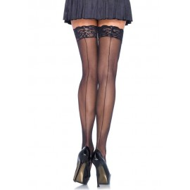 721101 SHEER STOCKING W/BACK SEAM LACE TOP O/S BLK