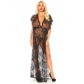 Lace kaften robe and thong, black, XL